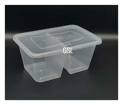 10 X Plastic Recyclable Food Grade 2 Compartment Storage Container & Lids 1000ml • 7.25£