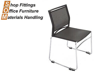 AU148 • Buy Black Sled Base Office Visitor Chair Stackable With Mesh Back