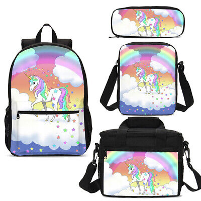 AU34.99 • Buy Wholesale Girls Kids Rainbow Unicorn Backpack Schoolbag Lunch Bag Satchel Case