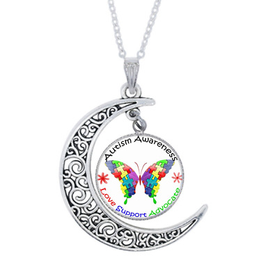 £1.31 • Buy Autism Awareness Photo Tibet Silver Cabochon Glass Crescent Moon Necklace