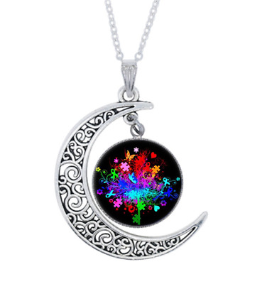 £1.31 • Buy Autism Awareness Tree Photo Tibet Silver Cabochon Glass Crescent Moon Necklace