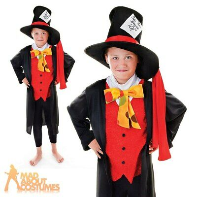 £7.99 • Buy Kids Mad Hatter Costume Alice Fairy Tale Fancy Dress Outfit Girls Boys Book Day