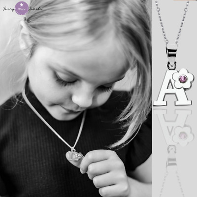 £12.99 • Buy CHILDREN's Jewellery Initial Letter Necklace Sterling Silver Chain Alloy Charm