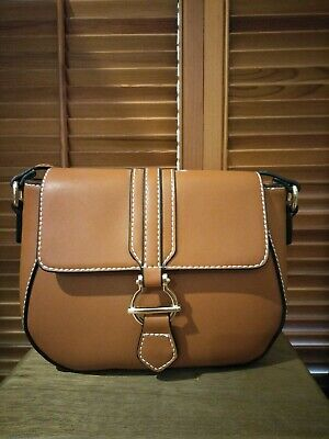 AU35 • Buy Forever New Tan Faux Leather Shoulder Bag With Gold Ring Detail