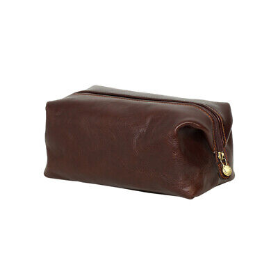AU129 • Buy NEW Toiletry Leather Organizer In Choc Men's By Republic Of Florence