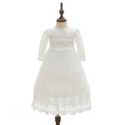 £24.99 • Buy Vintage Baby Baptism Long Dress Floral Embroidery Christening Lace Gown Bonnet