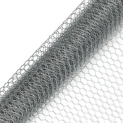 Galvanised Chicken Wire Mesh Fence Net Rabbit Netting Fencing Cages Runs Pens • 10.99£