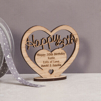 Personalised Wooden Heart For 21st 50th 60th Special Birthday Gift Message Stand • 4.95£