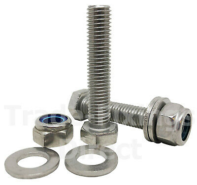 A2 STAINLESS MACHINE SLOTTED PAN HEAD SCREWS WITH NYLOC NUTS WASHERS M3 3mm