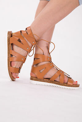 Womens Gladiator Sandals Ladies Flat Strappy Beach Shoes Lace Up Studs SIZE 4-7 • 11.99£