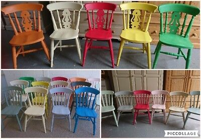 £85 • Buy Painted Solid Wood Farmhouse Kitchen Dining Chairs In Different Mix Colours