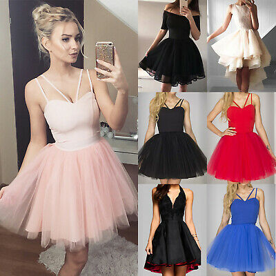 £18.79 • Buy Women Strappy Sleeveless Mini Tulle Tutu Short Dress Party Prom Evening Cocktail