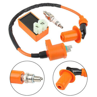 Racing AC CDI Box 6 Pin+Ignition Coil +Spark Plug For GY6 50-150cc Moped Scooter • 9.78$