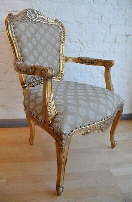 Mahogany Statement Antique Gold Leaf Gilt Ornate French Throne Carver Arm Chair • 319£