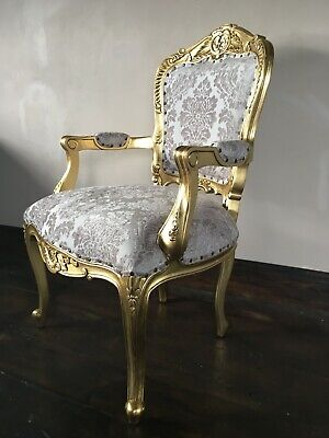 Statement Large Gold Leaf Gilt Champagne French Louis Throne Carver Arm Chair • 319£