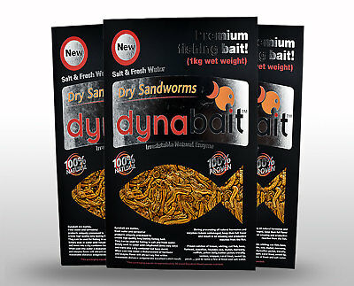 AU100 • Buy Dynabait Sand Worms 1Kg X 3 (3kg Wet Weight, Equals 90 Small Dynabait Satchels)