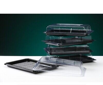 Black Sandwich Platters & Clear Lids Buffet Party Cakes Rectangular Wedding  • 10.45£