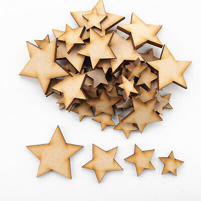 Wooden MDF Shapes Stars Scrapbooking Embellishments Card Decoration • 1.99£