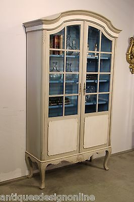 AU2985 • Buy Antique French Provincial Bookcase Carved Rococo Armoire Hand Painted Cabinet