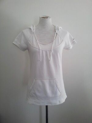 AU25 • Buy Hollister Size M Milk White Hooded Short Sleeve Top With Scoop Neck