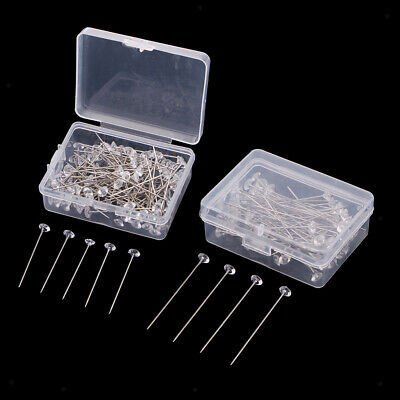£2.87 • Buy 100Pc Glass Crystal Corsage Pins Clear Flower Head Pins For Bouquet Wedding