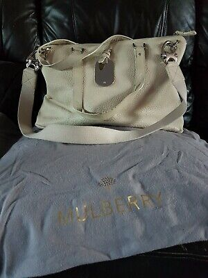 £250 • Buy Genuine Mulberry Shimmy Large Weekend/ Overnight Cream Bag, With Dust Bag
