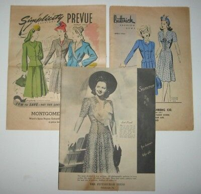 $45.20 • Buy Vintage Pattern Order Book 1941 42 & 43 Butterick Simplicity & Pittsburgh Press