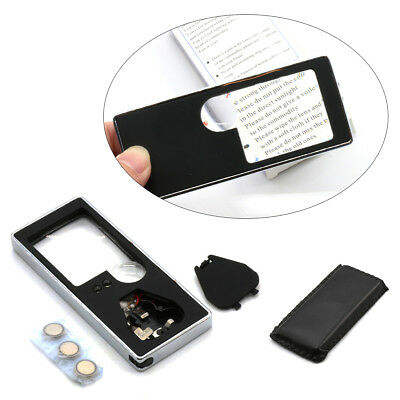10X Pocket Magnifier Magnifying Glass With 4 LED UV Light Loupe Reading Jewelry • 3.98£