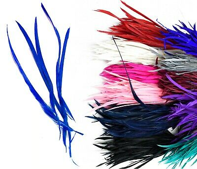 Long Fascinator Feathers Stripped Goose Biot Millinery Hats Trimmings Coloured • 3.99£