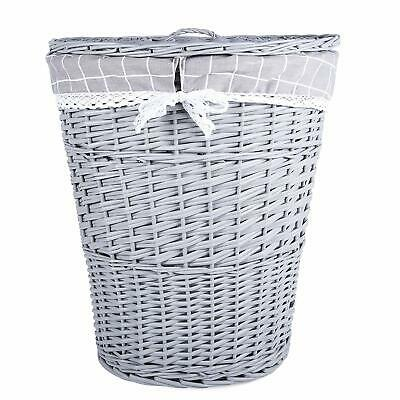Grey Painted Oval Wicker Laundry Basket Bathroom Storage Cotton Lining With Lid • 20.99£