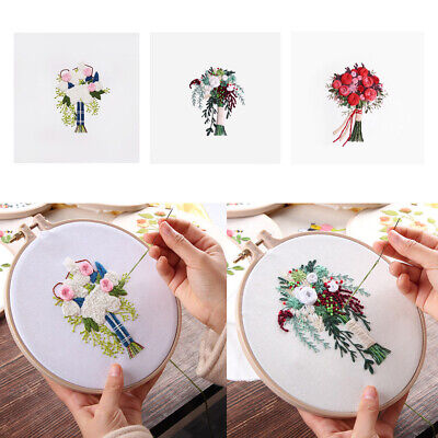 Embroidery Starter Kit With Pattern DIY Needlework Handmade Home Wall Decor • 4.67£
