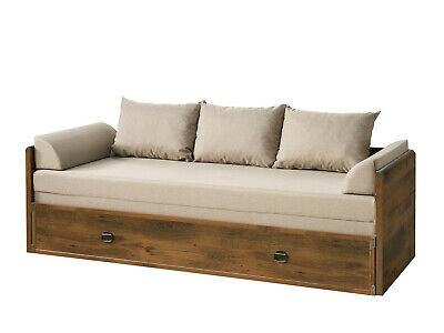 £599.95 • Buy Sofa Bed Fold Out Storage Beige Fabric Oak Finish & Metal Detail Indiana Rustic