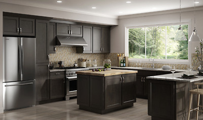 $2999.99 • Buy All Wood RTA 10X10  Luxor Smokey Grey Shaker Kitchen Cabinets + Finger Pull