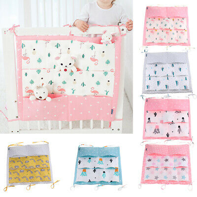 9 Pockets Baby Kids Crib Nursery Organizer Cot Storage Bag Tidy Diaper Stacker • 10.58£
