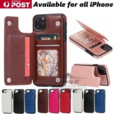 AU8.99 • Buy Leather Back Card Slide Holder Slot PU Case Cover For IPhone 6/7/8/Plus/X/XS