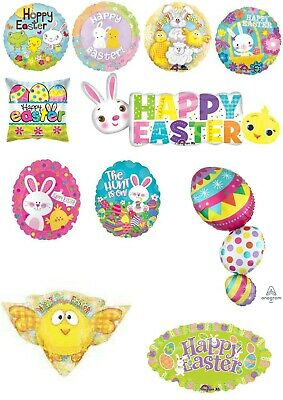 Easter Balloons Party Ware Decoration Bonnet Bunny Egg Theme Novelty Gift Helium • 4£