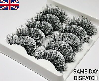 Long Wispy Eyelashes 3D Mink Style Wispy Volume Layered  Lashes 5 Pairs Set  • 3.99£