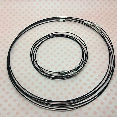 £3.29 • Buy 10 X Black Steel Wire Bracelets And Necklaces Mix 1mm For Jewellery Making