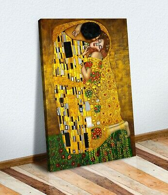 Gustav Klimt The Kiss CANVAS WALL ART PICTURE PRINT PAINTING GOLD • 12.99£