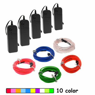 $7.99 • Buy LED EL Wire Neon Glow String Strip Light Rope Controller Car Decor Dance Party