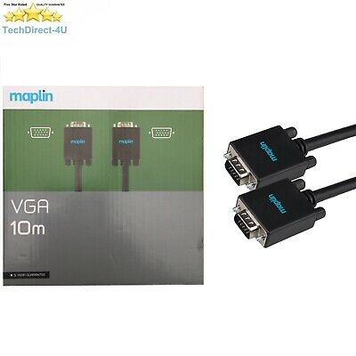 Certified Maplin 10M VGA / SVGA 15 Pin Male PC Monitor TV Cable Lead RRP £49.99 • 14.99£