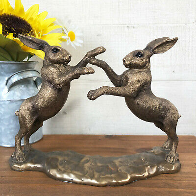 £27.99 • Buy Vintage Bronze Effect Resin Boxing Hare Figurine Statue Sculpture Ornament Gift