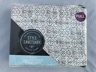 £39.92 • Buy STYLE SANCTUARY 4 Pc Printed Sheet Set FULL Size 100% Cotton French Cottage Chic