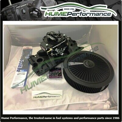 AU1650 • Buy Small Block Chev Sbc 283 400 Manifold & Carburettor Package Black Quickfuel