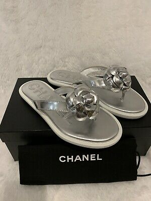 £425.20 • Buy Chanel Camella Silver/White Thong Sandals Sz34.5 $725