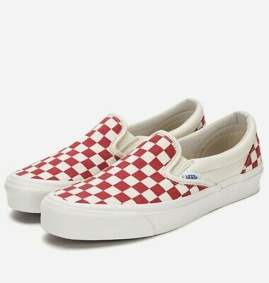 VANS Slip On Red White Checkered Canvas Skate Shoes Men s Size 12 Classic  Board • 40.00 ab2ef9fe1