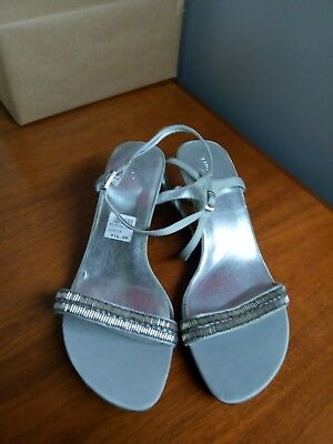 679e88acc Fioni Womens Shoes Silver Ankle Strap Open Toe Sandals With 2 Heel Size 10  • 11.99