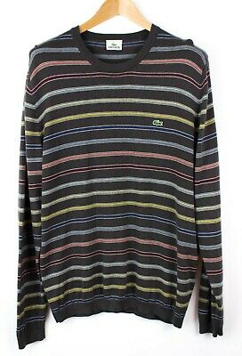 7bf72d92e3 Lacoste Hommes 100% Merino Extra Fin Pull Laine Pull Chandail Taille 6-XL  Lz164