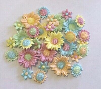 30 Flowers Pastel Edible Sugarpaste Icing Birthday Mothers Day Cake Toppers • 7£