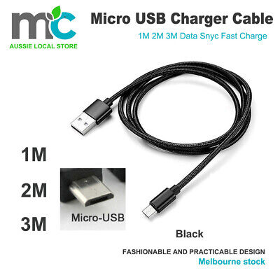 AU3.99 • Buy 1M/2M Strong Braided Micro USB Data Sync Charger Cable Cord Android Samsung